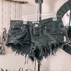 Faded black One Teaspoon Distressed shorts